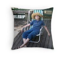 Boy on Vacations Throw Pillow