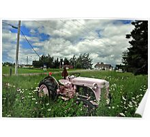 Gaspesia - The pink farm tractor Poster