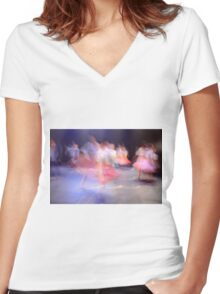 A group of Dancers in motion  Women's Fitted V-Neck T-Shirt