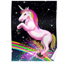 Fluffy Pink Unicorn Dancing on Rainbows Poster