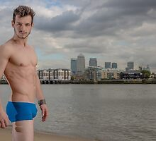 Sexy Male Model, Andrew with View of Docklands by GrahamMartin