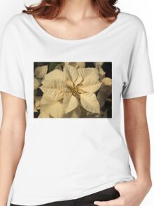 Elegant Ivory Poinsettia - An Exotic Christmas Greeting Women's Relaxed Fit T-Shirt