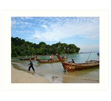 Long Boats Art Print
