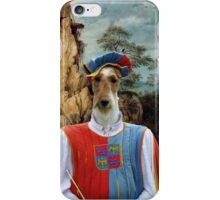 Wire Fox Terrier Art - Troubadour and windmill iPhone Case/Skin