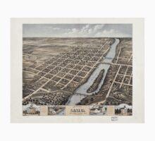 Panoramic Maps Bird's eye view of Geneva Kane County Illinois 1869 One Piece - Short Sleeve