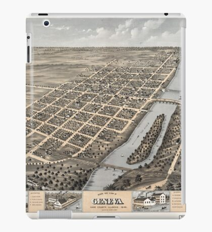 Panoramic Maps Bird's eye view of Geneva Kane County Illinois 1869 iPad Case/Skin