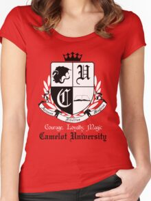 Camelot University (Big, B&W) Women's Fitted Scoop T-Shirt