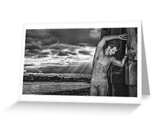 Dramatic Sky with Hot Model on the Thames in London  Greeting Card
