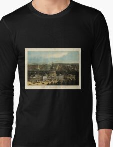 Panoramic Maps View of Washington City Long Sleeve T-Shirt