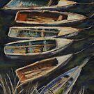 Fishing boats on Lake Titicaca, Peru by Terri Maddock