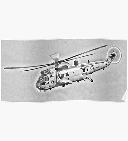 RAF Sea King Search and Rescue Helicopter Pencil Sketch Poster