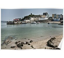 Tenby Harbour North Beach View Poster