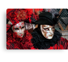 Venice - Carnival Mask 2012....02 - Couple in Red   Canvas Print