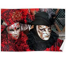 Venice - Carnival Mask 2012....02 - Couple in Red   Poster