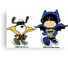 Batman & Robin Peanuts Canvas Print