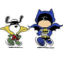 Batman & Robin Peanuts Photographic Print