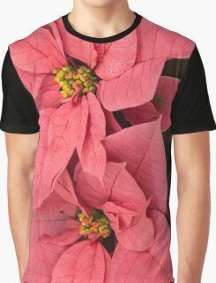 Christmas Greetings with a Vivacious Pink Poinsettia - a Vertical View Graphic T-Shirt