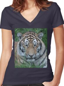 Tiger Stripes Women's Fitted V-Neck T-Shirt