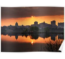 Harrisburg Skyline at Sunrise Poster