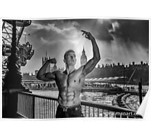 Dramatic Sky with Hot Model on the Thames in London  Poster