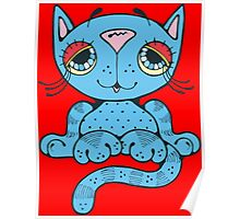 Blue Kitty Cat Poster