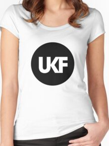 UKF-Black and White Women's Fitted Scoop T-Shirt