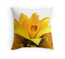 Yellow Lilly on White Throw Pillow