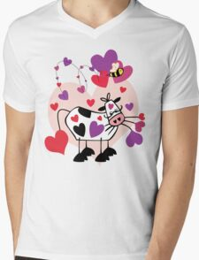 Cow Love with a Bumble Bee Mens V-Neck T-Shirt