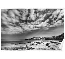 Tenby Harbour North Beach View 2 Mono Poster