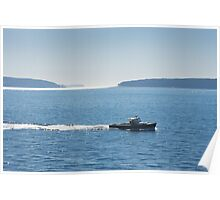 Lobster Boat And Islands Off Mount Desert Island Maine Poster