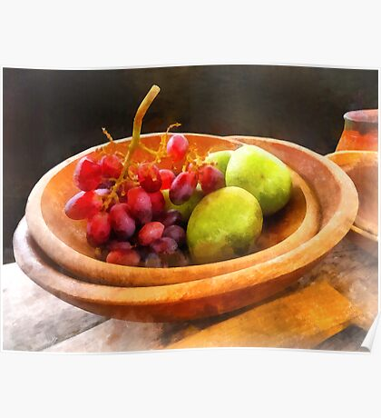 Bowl of Red Grapes and Pears Poster