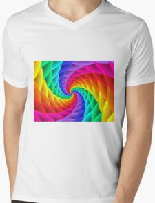 Psychedelic Rainbow Spiral  Mens V-Neck T-Shirt
