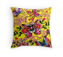 Traditional Butterfly Tattoos Yellow Throw Pillow