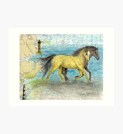 Mustang Horses Outer Banks Lighthouse Map Cathy Peek Art Print