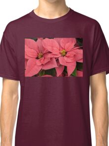 Christmas Greetings with a Vivacious Pink Poinsettia Classic T-Shirt