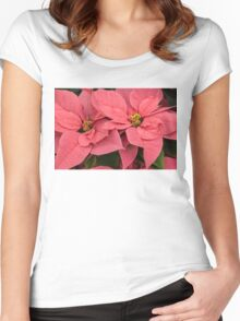 Christmas Greetings with a Vivacious Pink Poinsettia Women's Fitted Scoop T-Shirt