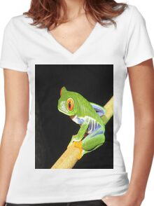 Red Eyed Tree Frog Women's Fitted V-Neck T-Shirt