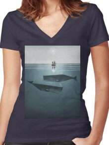 At sea. Women's Fitted V-Neck T-Shirt