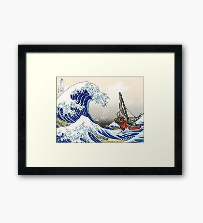 Legend of Zelda Great Wave Windwaker Framed Print