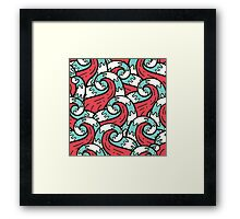 Crazy tangle doodle sea waves pattern Framed Print