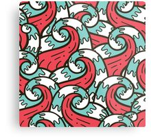 Crazy tangle doodle sea waves pattern Metal Print