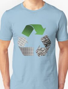 Recycle symbol with newspaper glass and metal T-Shirt