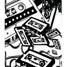 Retro Audio Tape (Black & White) by Geckoface