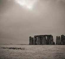 Stonehenge about to be engulfed in a snow storm by Ian Hosker