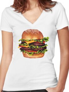 Double Cheeseburger 2 Pattern Women's Fitted V-Neck T-Shirt