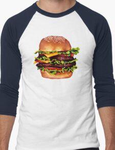 Double Cheeseburger 2 Pattern Men's Baseball ¾ T-Shirt