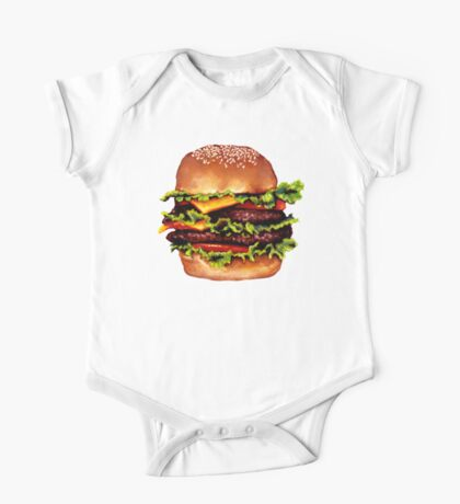 Double Cheeseburger 2 Pattern One Piece - Short Sleeve