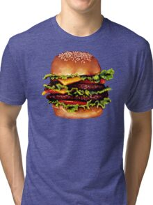 Double Cheeseburger 2 Pattern Tri-blend T-Shirt