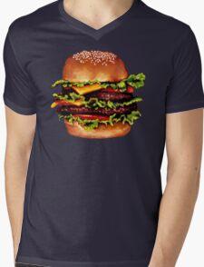 Double Cheeseburger 2 Pattern Mens V-Neck T-Shirt