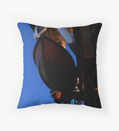 Lifeboat off Fleetwood Throw Pillow